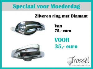 zilveren ring met diamant